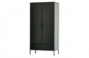 Kleiderschrank schwarz, Schrank schwarz, Breite 100 cm