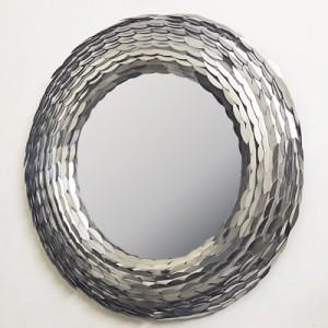 Spiegel rund Silber, Wandspiegel rund Silber, Durchmesser 85 cm