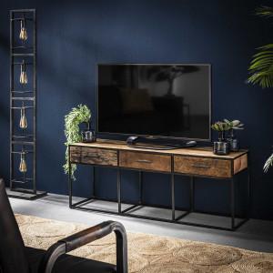 TV Schrank Altholz Industriedesign, TV Regal Metall-Gestell, Fernsehschrank Industriedesign, Breite 135 cm