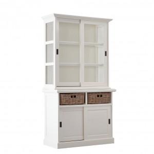 Vitrine weiß Eiche, Geschirrschrank weiß Rattan Körbe, Küchenschrank weiß Landhaus, Breite 120 cm