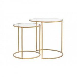 2er Set Beistelltische Gold runder Beistelltisch, Durchmesser 40-50 cm