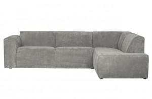 Cord Sofa grau Ottomane rechts, Cord Ecksofa grau, Cord Eckcouch grau,  Couch Cord grau