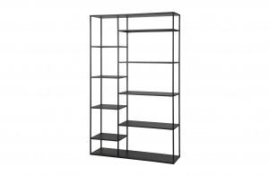 Metall Regal schwarz, Regal schwarz, Bücherregal Metall schwarz, Breite 120 cm