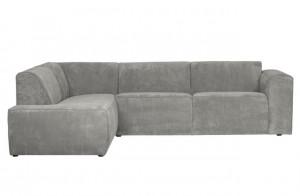 Cord Sofa grau Ottomane links, Cord Ecksofa grau, Cord Eckcouch grau,  Couch Cord grau