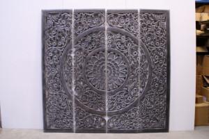 Wandpaneel grau, Bild Ornament grau vintage, Wandbild Bild-Ornament, Triptychon geschnitzt,  Maße 210 x 210 cm
