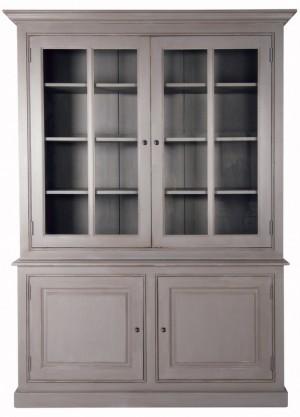 Vitrine grau Landhausstil, Vitrinenschrank grau Landhaus, Geschirrschrank im Landhausstil, Breite 174 cm