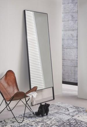 Wandspiegel Metall-Rahmen schwarz, Spiegel schwarz Metall, Wandspiegel schwarz, Breite 80 cm