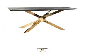 Esstisch Gold Tischplatte braun-schwarz, Tisch braun-schwarz Eiche furniert, Breite 200 cm