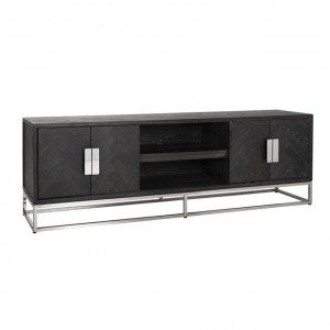 TV Schrank schwarz, Fernsehschrank verchromt schwarz, Lowboard schwarz,  Breite 185 cm