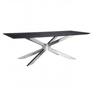 Esstisch braun-schwarz, Tisch braun-schwarz Eiche furniert, Breite 200 cm