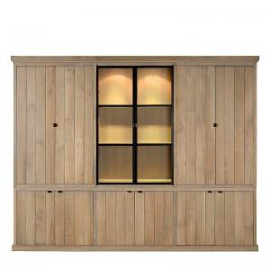 Vitrinen Eiche, Geschirrschrank sechs Türen Landhausstil, Schrank Eiche, Breite 290 cm