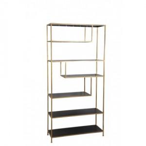 Metall Regal Gold-schwarz Industriedesign, Bücherregal Metall schwarz, Regal Metall, Breite 100 cm