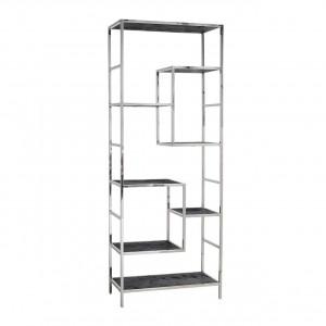 Regal schwarz, Bücherregal verchromt schwarz, verchromtes Regal,  Breite 80 cm