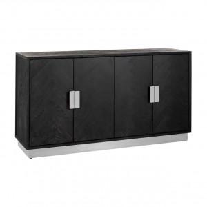 Sideboard braun-schwarz, Anrichte verchromt schwarz,  Breite 160 cm