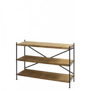 Regal Metall-Holz, Bücherregal Industriedesign Metall, Metall Regal, Breite 126 cm