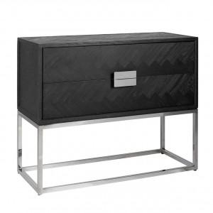 Schrank braun-schwarz, Kommode verchromt schwarz, Schrank mit zwei Schubladen, Breite 108 cm