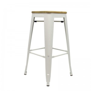 Metall-Hocker weiß Holz Sitzfläche, Barhocker Industriedesign weiß , Sitzhöhe 76 cm