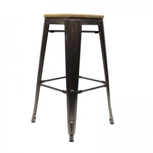 Metall-Hocker grau Holz Sitzfläche, Barhocker Industriedesign grau, Sitzhöhe 76 cm