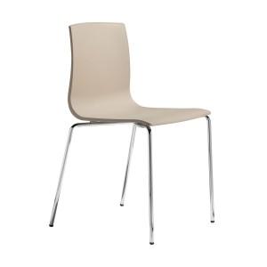 Stuhl taupe, Stuhl stapelbar verchromtes Gestell, Design Stuhl taupe