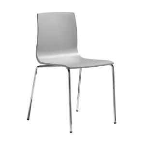 Stuhl grau, Stuhl stapelbar verchromtes Gestell, Design Stuhl grau