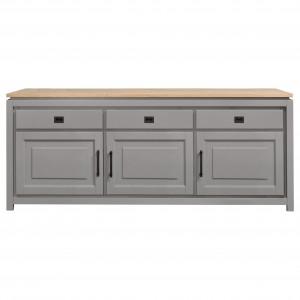 Sideboard grau Holz, Anrichte grau im Landhausstil, Sideboard Landhaus, Breite 220 cm