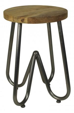 Hocker rund Metall, Metall Hocker Holz, Höhe 45 cm
