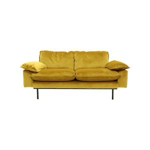 Sofa gelb zwei-Sitzer, Sofa retro 2-Sitzer, Breite 175 cm