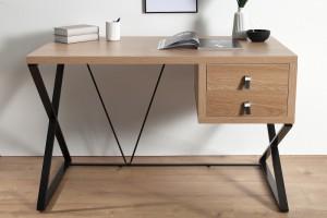 Schreibtisch Metall-Gestell, Tisch Holzoptik braun, Breite 120 cm