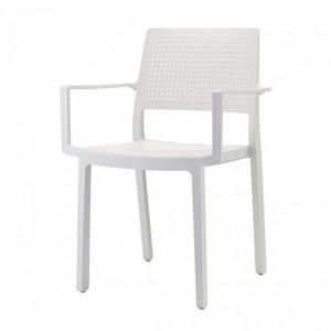 Stuhl mit Armlehne, Indoor, Outdoor, weiß, aus Kunststoff, Stapelbar