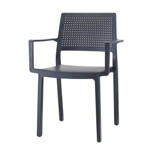 Stuhl mit Armlehne, Indoor, Outdoor, anthrazit, aus Kunststoff, Stapelbar
