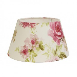 Lampenschirm blumig rund für Tischleuchte, Lampenschirm weiß-blumig, Durchmesser 25 cm