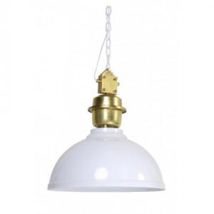 Pendelleuchte weiß-gold im Industriedesign, Hängeleuchte weiß-gold, Durchmesser 52 cm