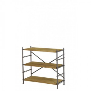 Regal, Bücherregal Metall mit drei Böden aus Holz, Breite 100 cm