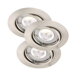 LED Moderne Deckeneinbauleuchte, Farbe satin chrom, dimmbar, Ø 9 cm, 3-er SET