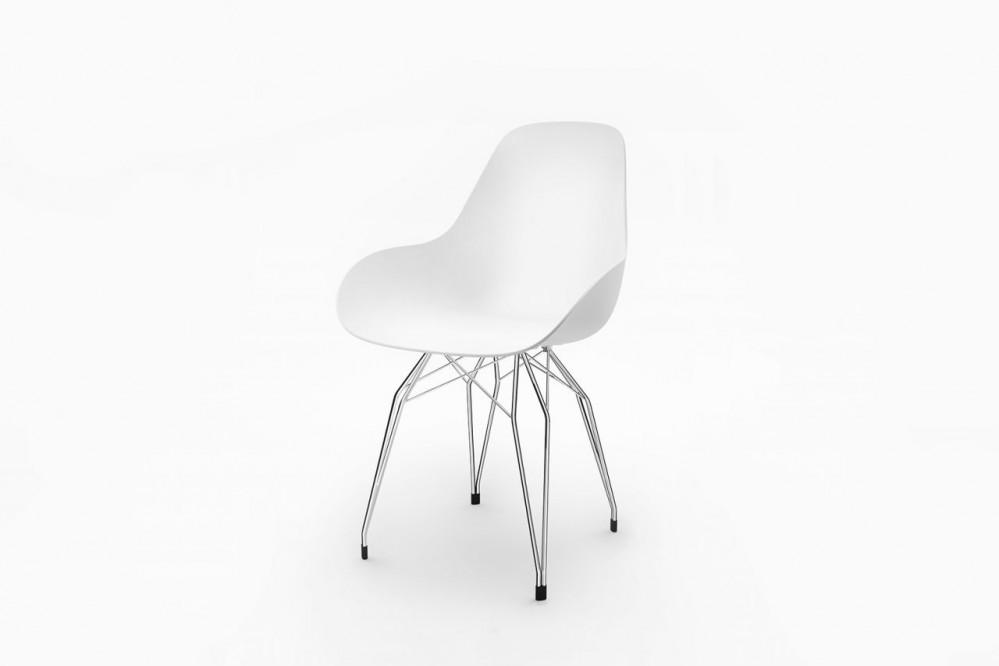 Design Stuhl weiße Sitzschale, verchromtes Gestell, Sitzhöhe