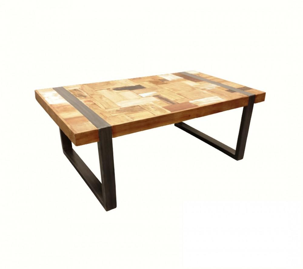 Couchtisch Industriedesign Tisch Metall Holz Lange 120 Cm