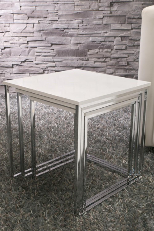 moderner couchtisch 3er set in wei. Black Bedroom Furniture Sets. Home Design Ideas