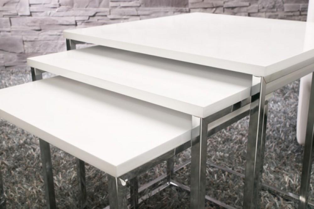 Moderner Couchtisch 3er Set In Weiß