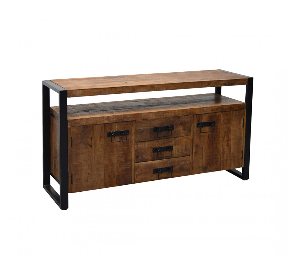 sideboard industriedesign anrichte metall holz breite 145 cm. Black Bedroom Furniture Sets. Home Design Ideas