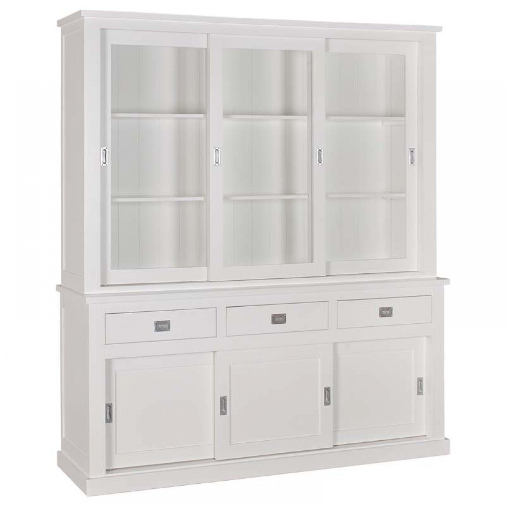 vitrinenschrank wei geschirrschrank wei wohnzimmerschrank im landhausstil ma e 220x200 cm. Black Bedroom Furniture Sets. Home Design Ideas