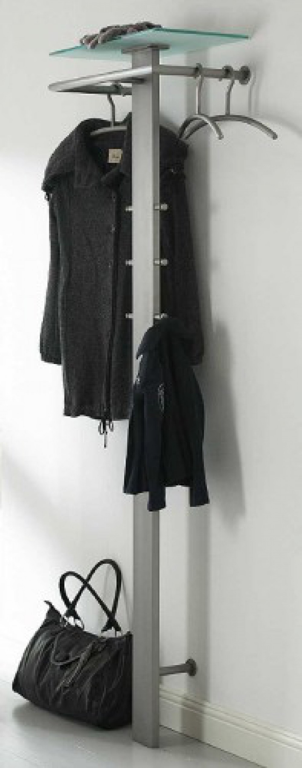 wandgarderobe aus edelstahl garderobe mit hutablage aus. Black Bedroom Furniture Sets. Home Design Ideas