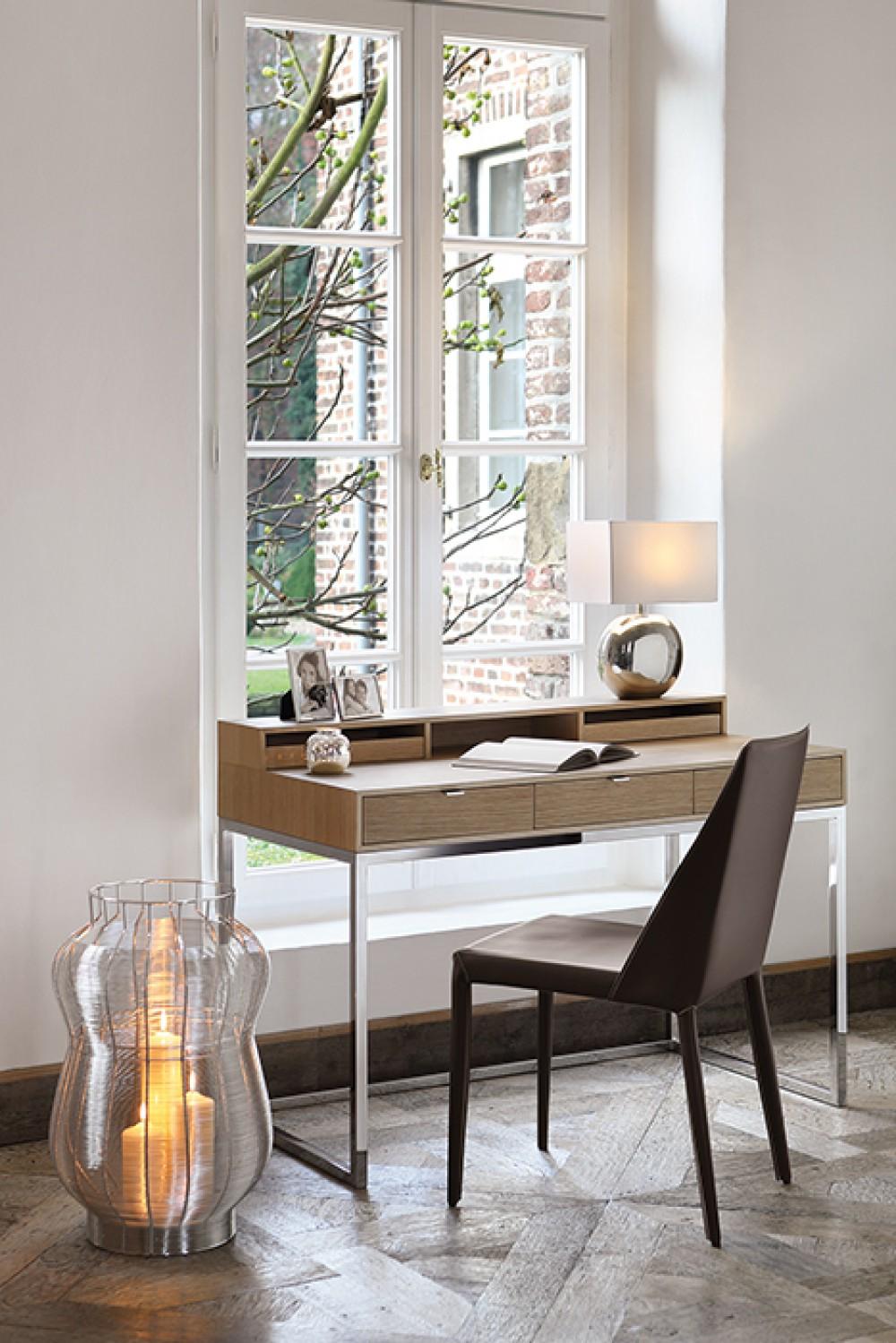 Sekretär Eiche Natur, Schreibtisch verchromt, Tisch modern