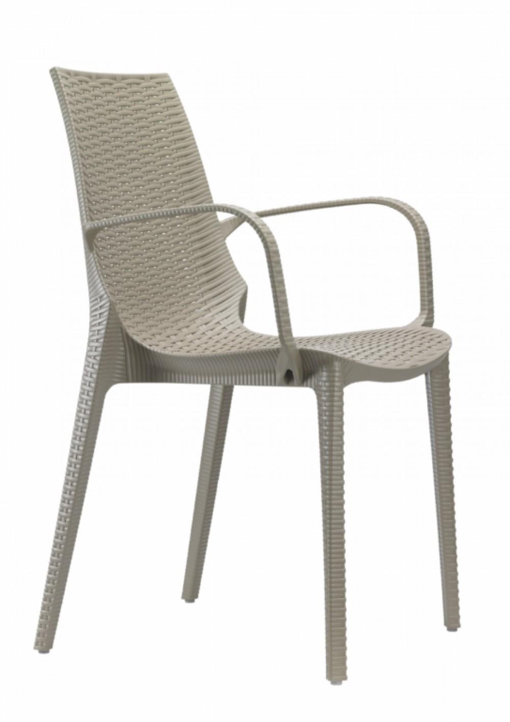Design Gartenmöbel Stuhl Kunststoff taubengrau Glasfaser