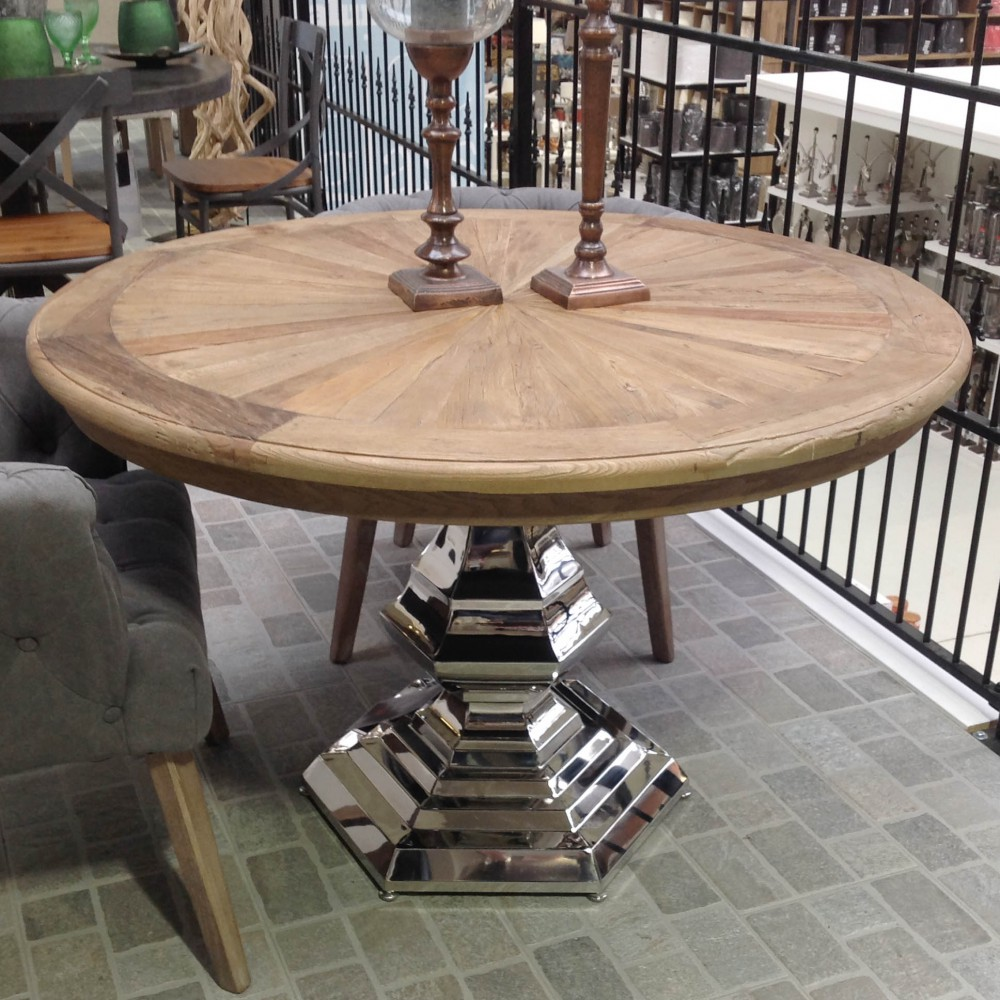 Tisch Rund Massivholz Esstisch Silber Tischfuß