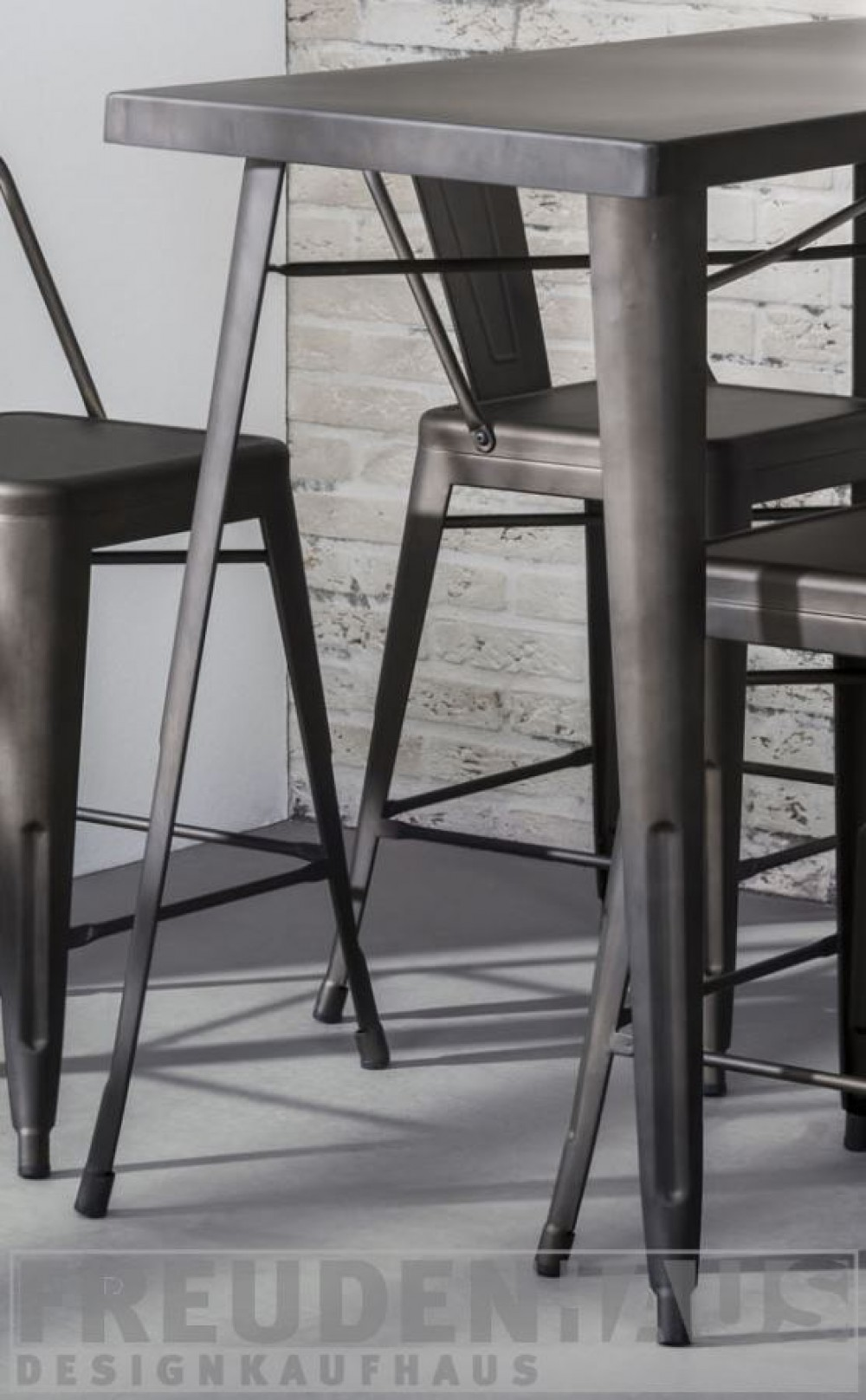 Set Bartisch Mit Vier Barhocker Metall Grau Tisch Grau Metall