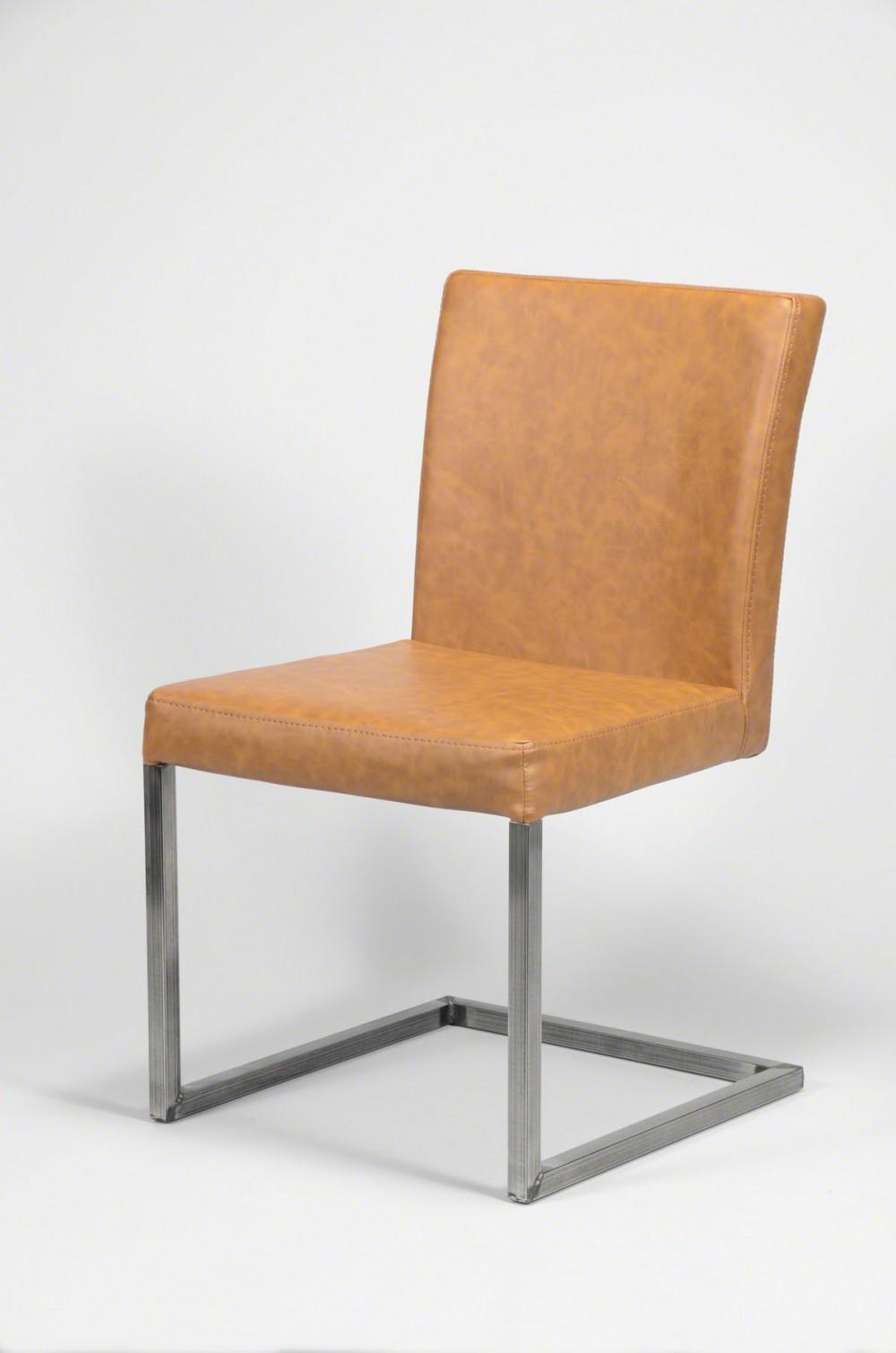Stuhl gepolstert freischwinger kunstleder braun for Stuhl gepolstert