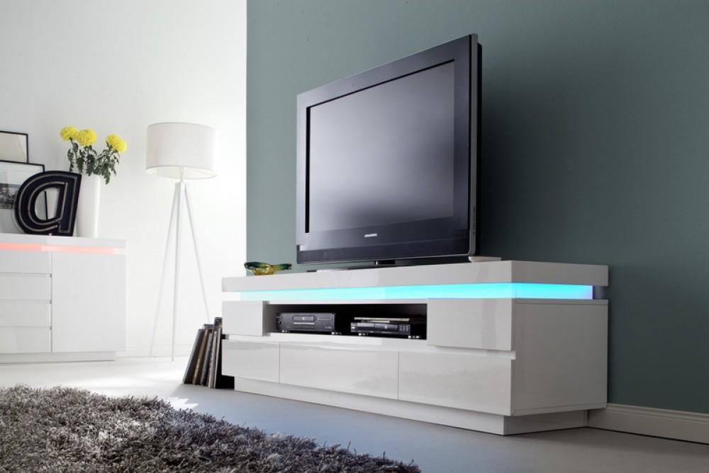 Tv Lowboard Weiss Hochglanz Lackiert Moderner Tv Schrank Mit Led