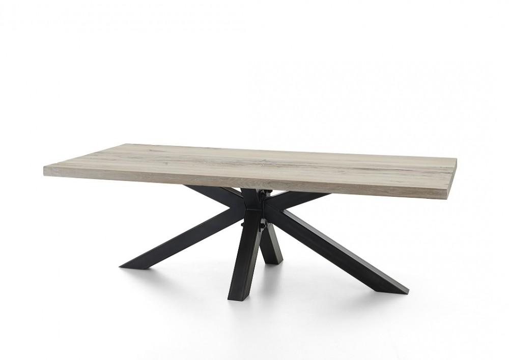 esstisch eiche tischplatte tisch massiveiche industriedesign gestell aus metall ma e 200 x 100. Black Bedroom Furniture Sets. Home Design Ideas