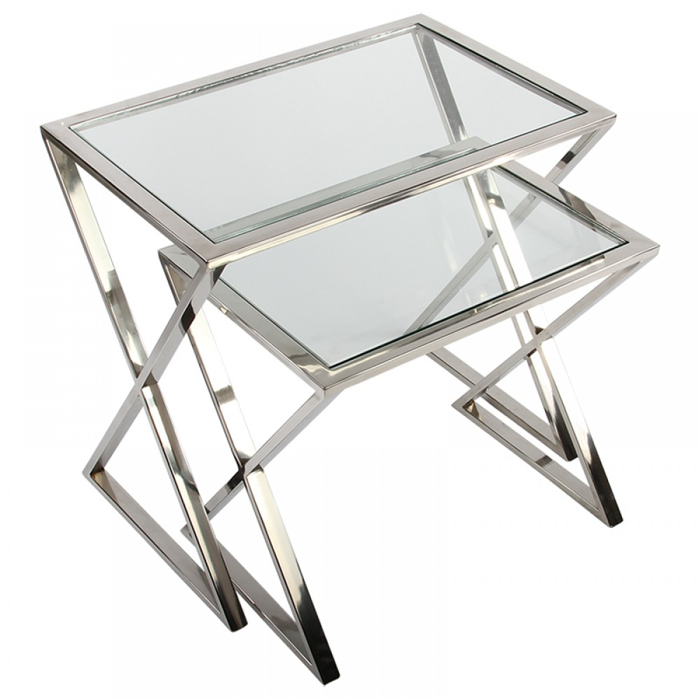 Beistelltische Metall Silber 2er Set Beistelltisch Verchromt Glas