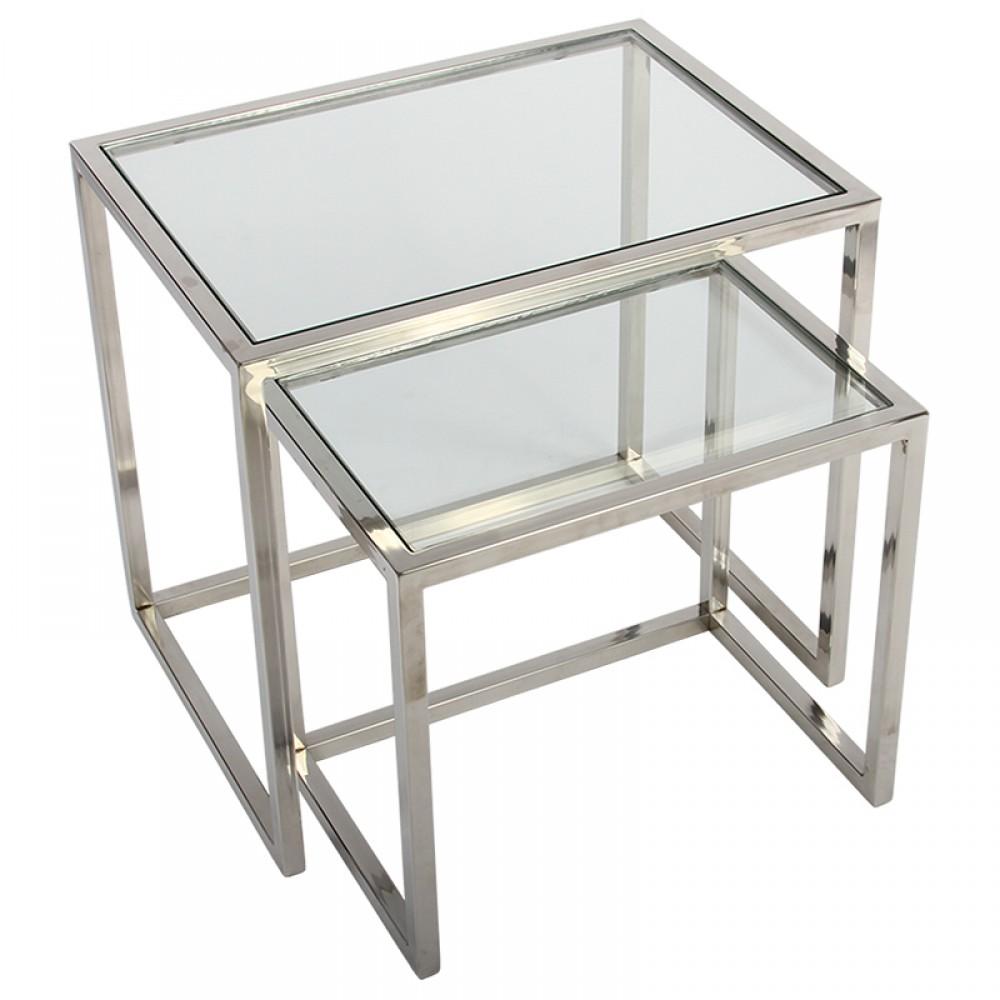 2er Set Beistelltische Metall Silber Beistelltisch Verchromt Glas